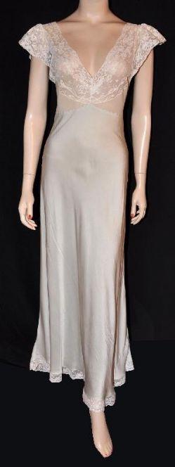 1930s Silk Charmeuse Bias Nightgown (LOVE VINTAGE SILK)