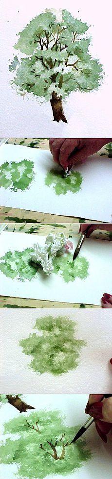 Пишем деревья акварелью