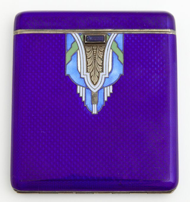 """Art Deco Austrian Guilloche Enamel on .935 Sterling Cigarette Case, c. 1940, # 17028, with a gilt washed interior, the front with a lapis mounted catch, verso with an inset monogram """"MMF,"""" H.- 3 5/16 in., W.- 2 7/8 in., D.- 3/8 in."""