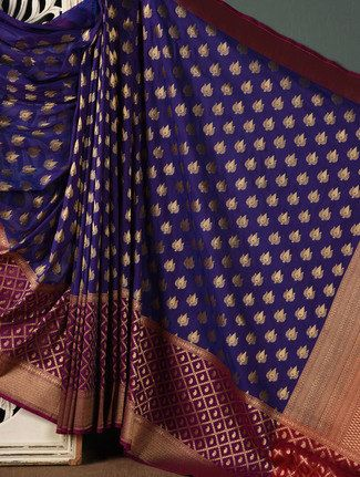 Buy Indigo Brocade Banarasi Saree by Rang Banarasi - Online shopping for Sarees in India | 1043996