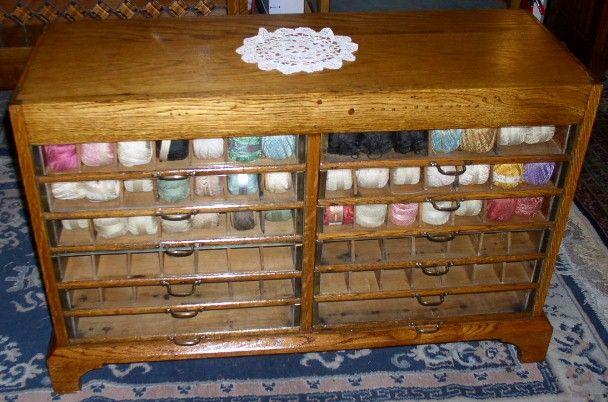 Wonderful Oak Yarn Cabinet With Glass Front Drawers, BRASS LANTERN ANTIQUES