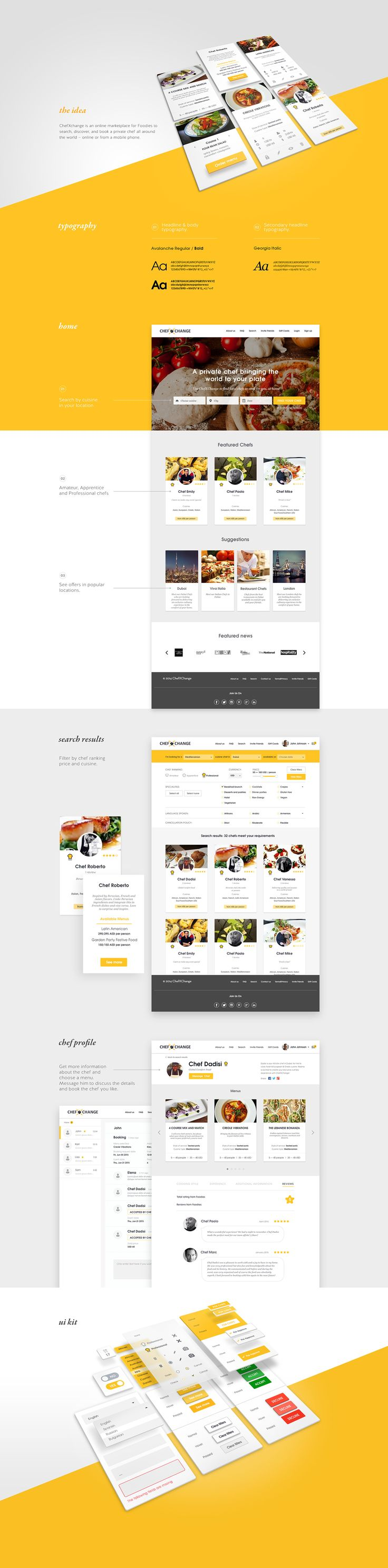 Chef booking Application & Website design on Behance