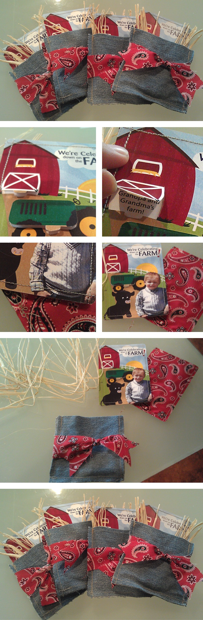 Birthday party invitation for my son's 2nd birthday - farm theme. He loves the farm!  1) Design (or buy) your invite. I cut pop up tabs, like you see in toddler books.  2) Cover the back by sewing bandana material to the back of the paper.  3) Cut rectangles from old jeans, sew on three sides to make a pouch.  4) Assemble: add some raffia and put the invite in the jean pouch. Tie a strip of bandana material around to finish.  Alt: tie strip of leather around pouch, adding a small belt buckle
