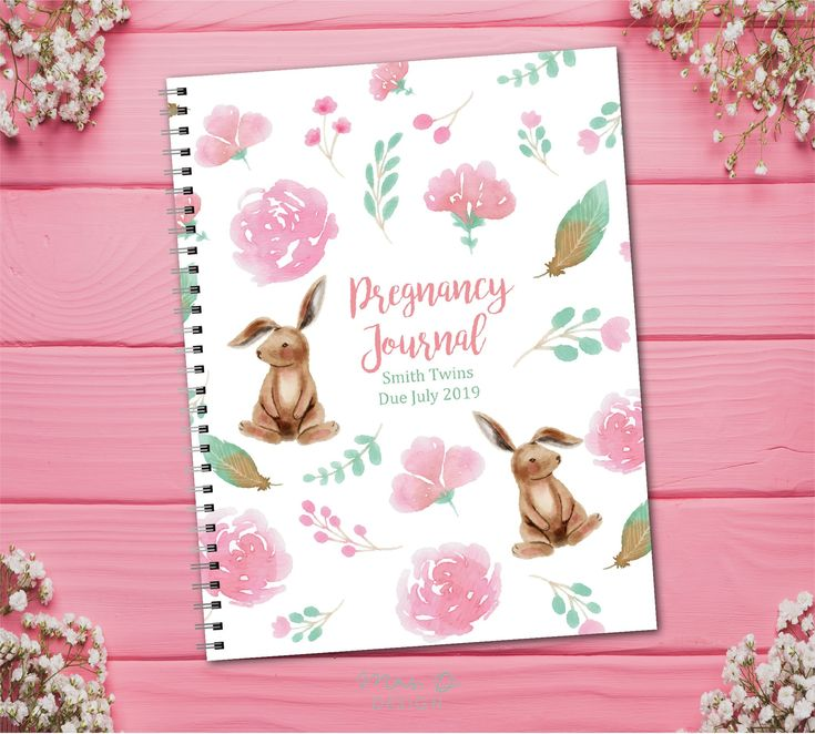 Custom TWIN Pregnancy Journal with planned pages – bunnies, floral, babies, Flor …  – Pregnancy Journals