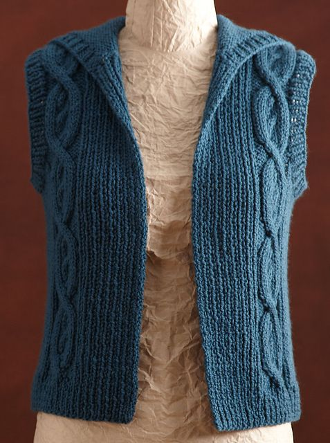 Ravelry: Cabled Teal Vest pattern by Lion Brand Yarn