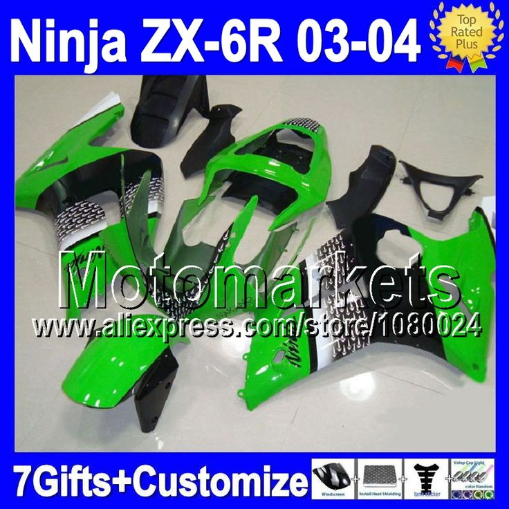 Зеленый черный 7 подарки для KAWASAKI ниндзя ZX6R ZX636 03 - 04 M833 ZX-6R ZX 6 R 03 04 2003 2004 ZX 6R 636 зализа новый зеленый белый