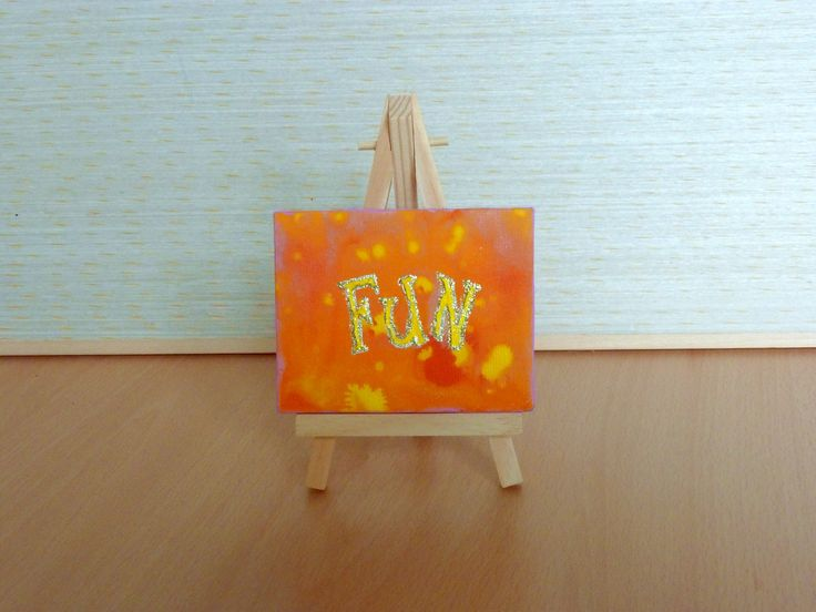 Fun Yellow and Orange Abstract Tiny Original Acrylic Painting on Canvas, Miniature Painting, Abstract Word Art, Art & Collectibles by JewellsArtUK on Etsy