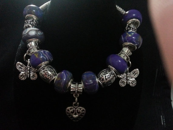 European Bead Charm Bracelet by CavettaCreations on Etsy, $12.50