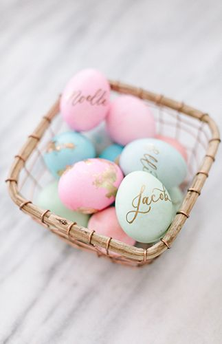 Setting a Whimsical Pastel Easter Brunch Table with Easter eggs - Inspired By This