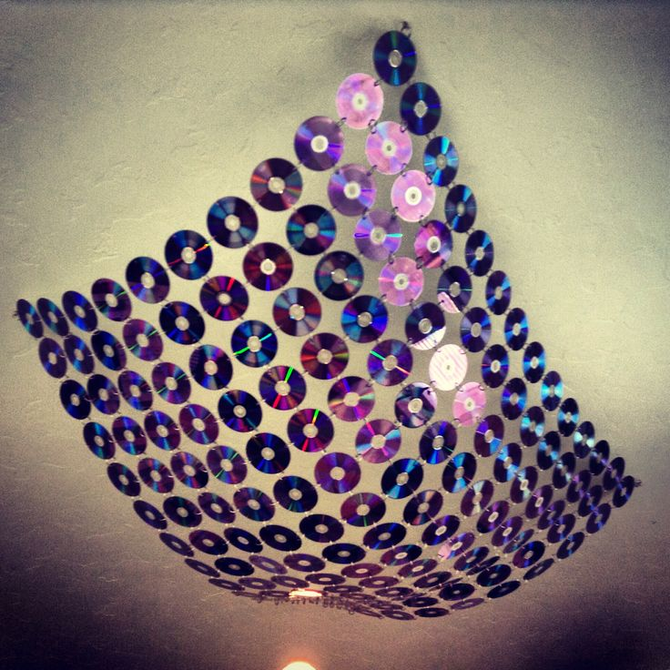 Recycled old CDs or DVDs. Drill holes in discs then attach with book rings. Ceiling or wall decoration.