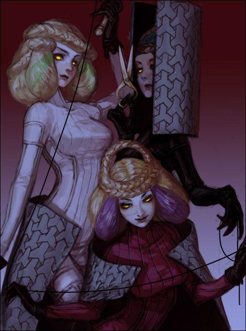 The Moirae Sisters, Shin Megami Tensei design, by Shaliva (http://shantilan.blog.shinobi.jp/)