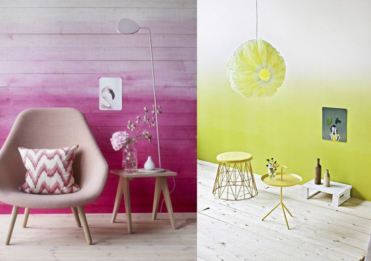 Mur dip dye d co rose jaune tie and dye tendance papier for Repeindre un mur deja peint