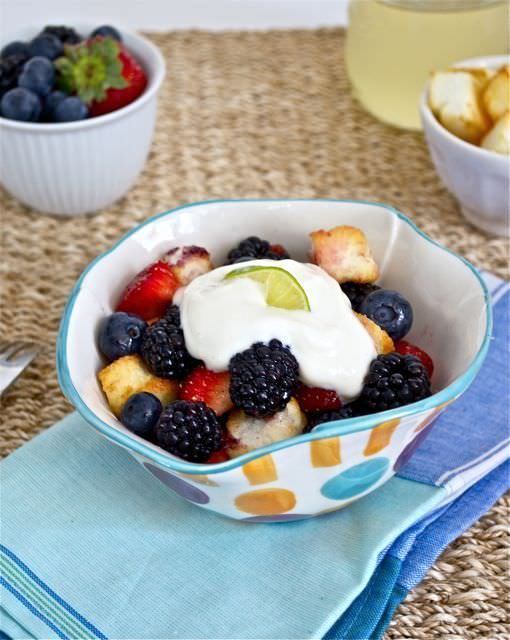 Mixed Berry Salad with Key Lime Simple Syrup and Angel Food Cake Croutons is fresh mixed berries in key lime simple syrup with angel food cake croutons.  Top with whipped cream or Greek yogurt for a fabulous summer dessert or afternoon treat. Who out there watches Chopped on Food Network?  I'm addicted to the show, …