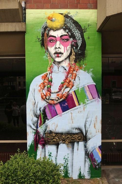 """Nomad"", new Street Art by Fin Dac for Urban Nation at Bulowstrasse, Berlin, Germany. #StreetArt #Graffiti #Mural #Germany"