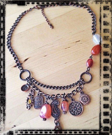 Made with ❤️ : Vintage Necklace - Beads & Antiqued Copper Chain Necklace - Orange, Red, Copper https://www.etsy.com/listing/287687903/vintage-necklace-beads-antiqued-copper?utm_campaign=crowdfire&utm_content=crowdfire&utm_medium=social&utm_source=pinterest