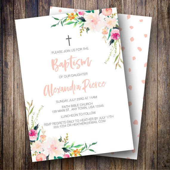 Girl Baptism Invitation, Watercolor Baptism Invite, Floral Baptism Invitation, Baptism Invitation Girl, Baptism Printable in Coral, Green - Spotted Gum Design - Etsy