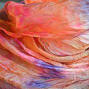 Аксессуары ручной работы. Ярмарка Мастеров - ручная работа большой оранжево кораллово розовый шелковыйшарф натуральный шёлк. Handmade.