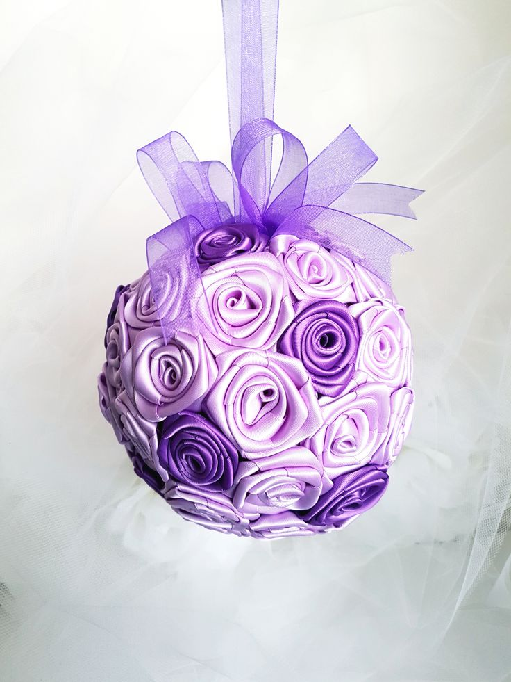 """Mauve and Purple Bridal Bouquet,Kissing Ball, Wedding Decor, Pomander. Bride, Bridesmaid, Flower Girl Bouquet. Lilac and Lavender handmade satin ribbon roses.  Organza ribbon handle. 8"""" bouquet. Decorate the pews or reception tables."""