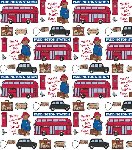 Paddington Bear Station Cotton Fabric - one of my favorite story book bears