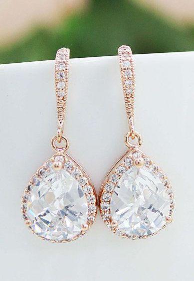 Rose Gold clear white cubic zirconia Crystal tear drop Wedding Earrings