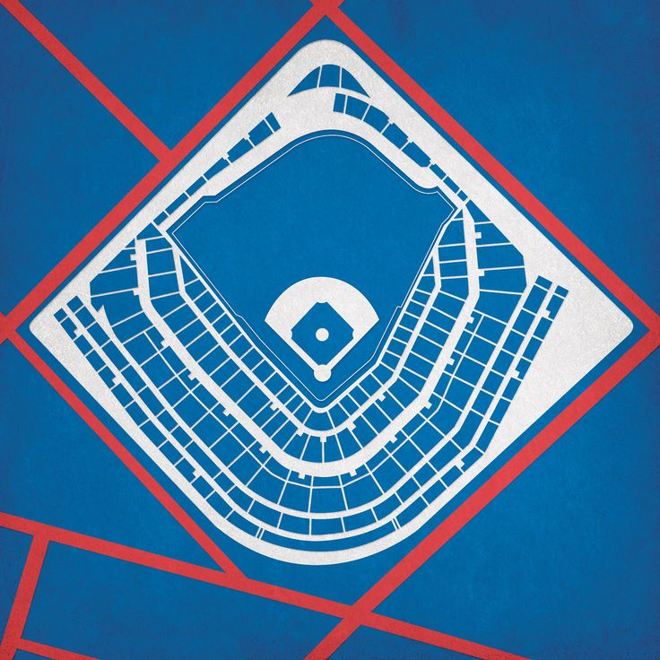 Map art print including the aerial view of Wrigley Field located in Chicago, Illinois.