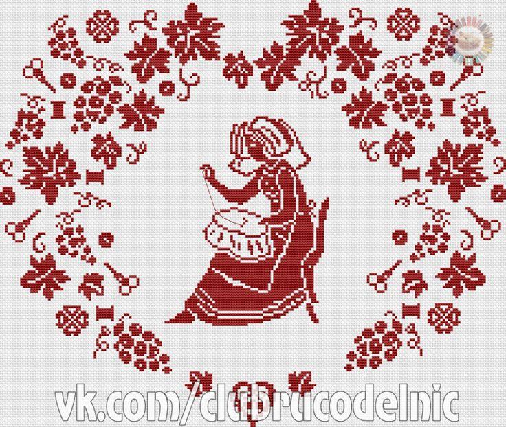 0 point de croix brodeuse dans un couer de raisins - cross stitch stitcher in a grapevine heart