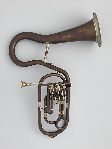 Tenor Valve Trombone in B-flat by Pietro Borsari, Bologna, ca. 1870. Now on exhibit in the Fanfare Display at The Met.