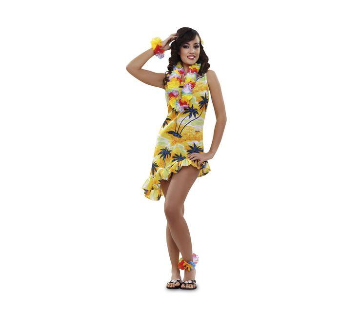 #Disfraz de #Hawaiana o #Turista para mujer talla M-L. Incluye vestido y tocado.  #fiestahawaiana #despedidadesoltera #hawai #hawaii