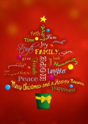 Kerstboom vol woorden voor een Fijne Kerst en Gelukkig Nieuwjaar, in het engels. Merry Christmas tree full words as laughter, peace, joy and happiness for the New Year!