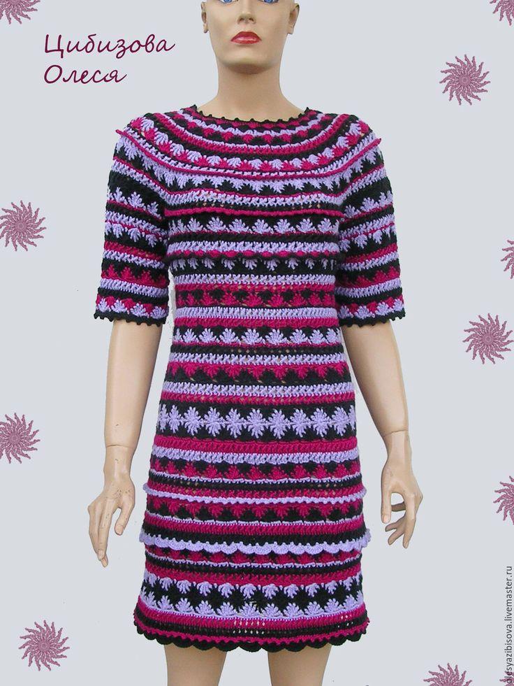 """Купить Вязаное платье крючком """"Лила"""" - комбинированный, абстрактный, вязаное платье, вязаное платье крючком"""