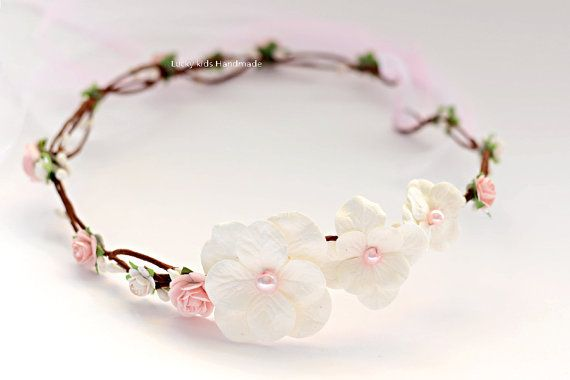 Ivory and pink flower crown Bridal floral by LuckyKidsHandmade