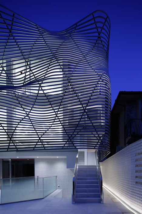 Amano Design Office wraps Tokyo office block with steel ribbons #architecture ☮k☮