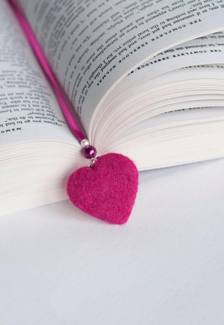 Needle Felted Wool Bookmark Pink Heart Bow by LigaKandele on Etsy