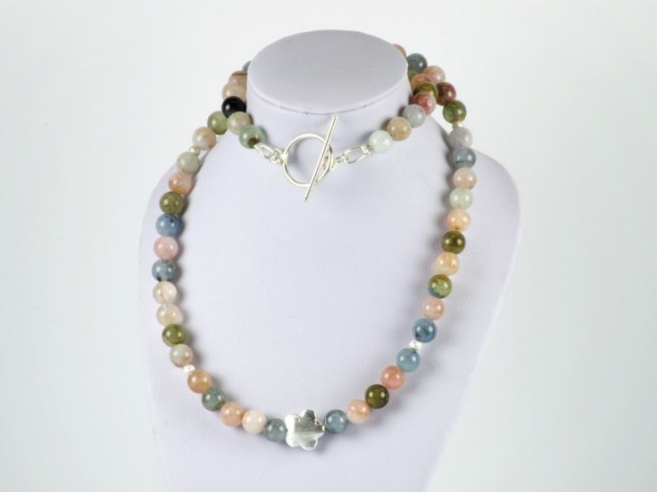 Natural Beryl Gemstone Necklace Sterling Silver 925 Stardust Beads   The Beaded Garden