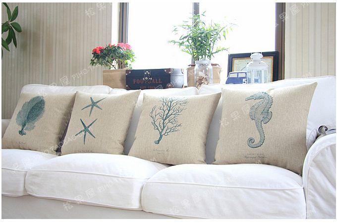 45*45cm , Linen Cotton Sea Coral Sea Star Sea horse Sea Grass Pillow Cushion Mediterranean Coastal Sectional Couch Cover