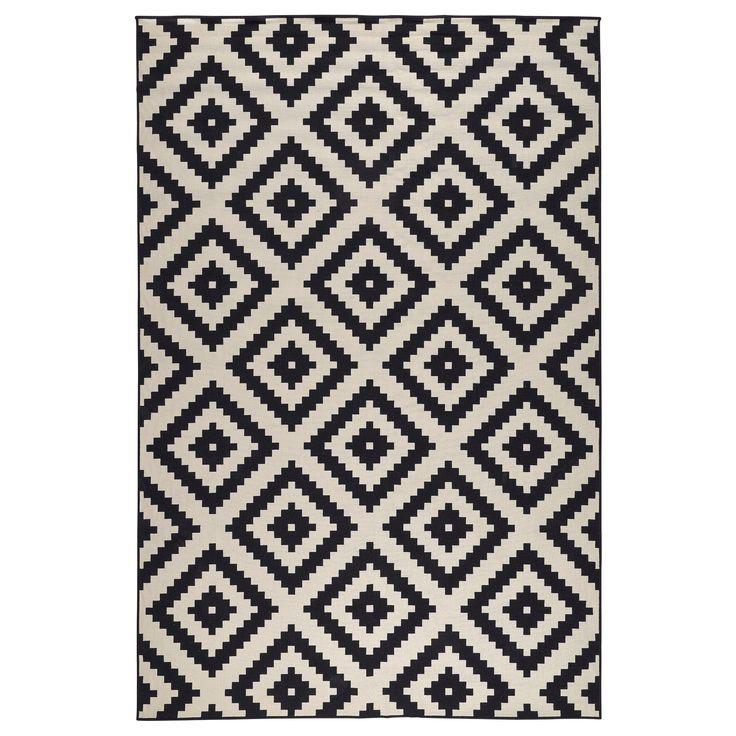 lappljung ruta tapis poils ras blanc blanc noir noir. Black Bedroom Furniture Sets. Home Design Ideas