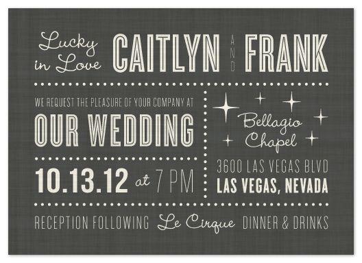 Vegas Baby! Award For The Best Las Vegas Wedding Invitation: U201cLucky In Love