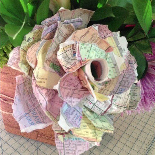 Paper Roses Made Out of Phone Book Pages