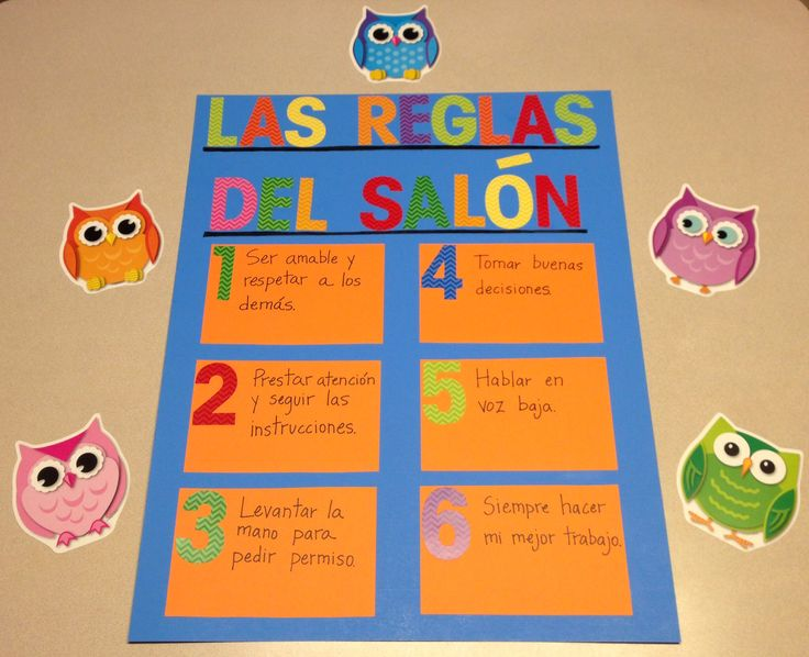 Las Reglas del Salón! Classroom rules for first grade bilingual in Spanish. Love the colorful title and corresponding numbers.