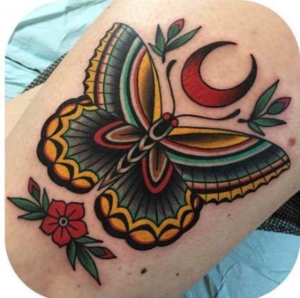 Amerikanische traditionelle 54+ Ideen der alten Schule des Tätowierungsschmetterlings   – Hair♥ Nails♥ Beauty♥ Tattoos♥ Piercings♥