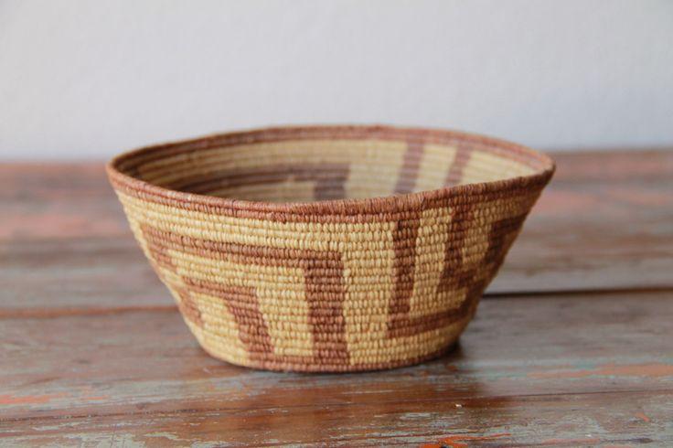 Vintage Southwestern Basket, Native Handmade, Lovely Patina by GeronimosCollection on Etsy