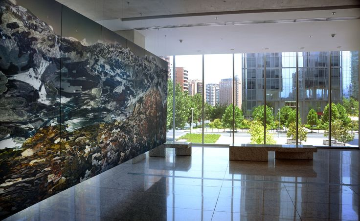 Mural Tierra Pacífica Serie Los Andes: columna vertebral de América tintas Ultrachrome K3 sobre tela 2.40 x 8.00mt Atelier Alexander Sutulov 2010 Edifcio Neruda / Nueva Las Condes