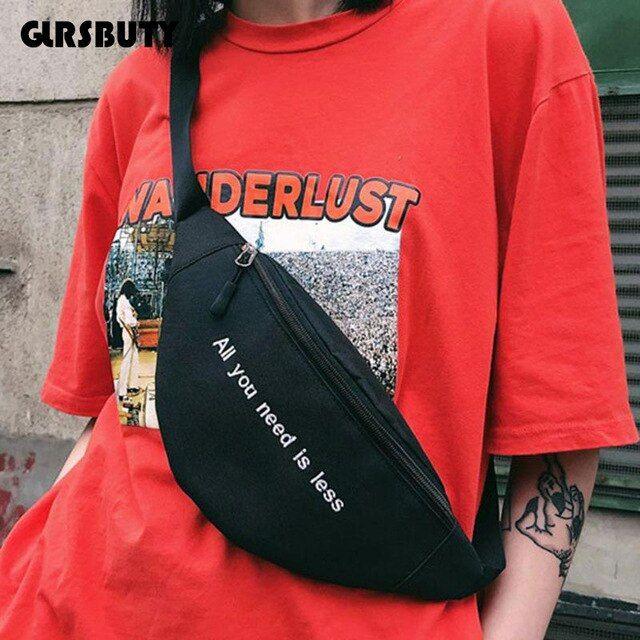 2019 Women`s Belt Bag Harajuku Style Waist Bag Hip-hop Print Letter Fanny Pack GLRSBUTY Print Letter Hip Bum Bag for Travel