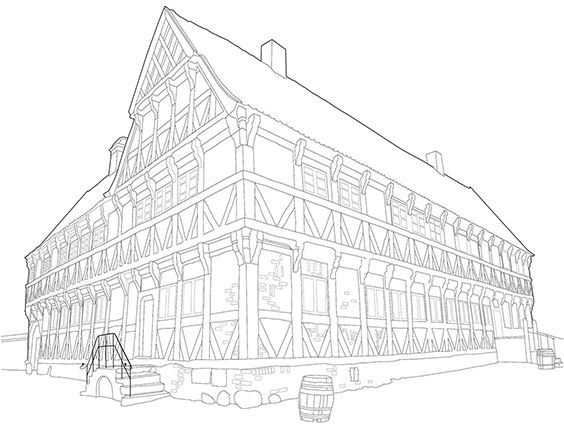 Borgmestergården, Den Gamle By, Aarhus, tegning fra Mal Aarhus