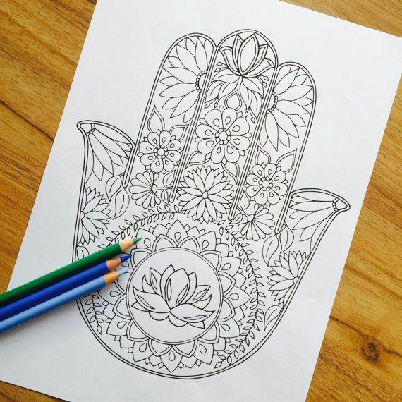 Hamsa Lotus - Hand Drawn Adult Colouring Print