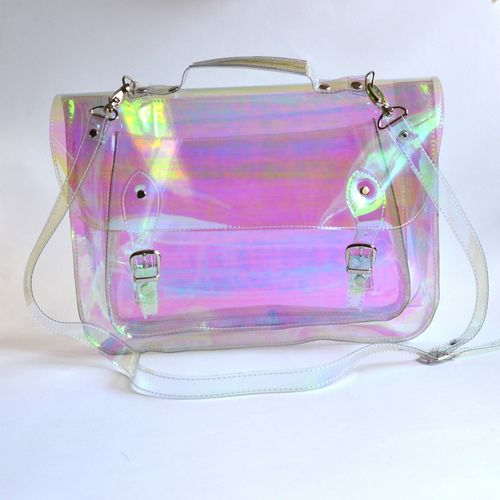 Large bag Number 3 Holographic Clear Vinyl Plastic Satchel crossbody strap…