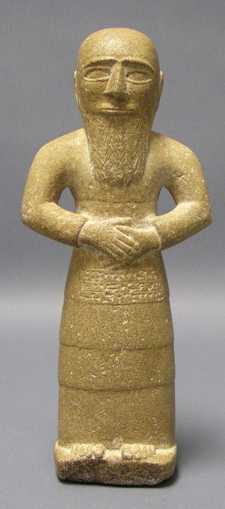 Votive Statue of a Man   Mesopotamia: Late Sumerian, c. 2000 BCE  Carved sedmimentary stone, 23 cm tall