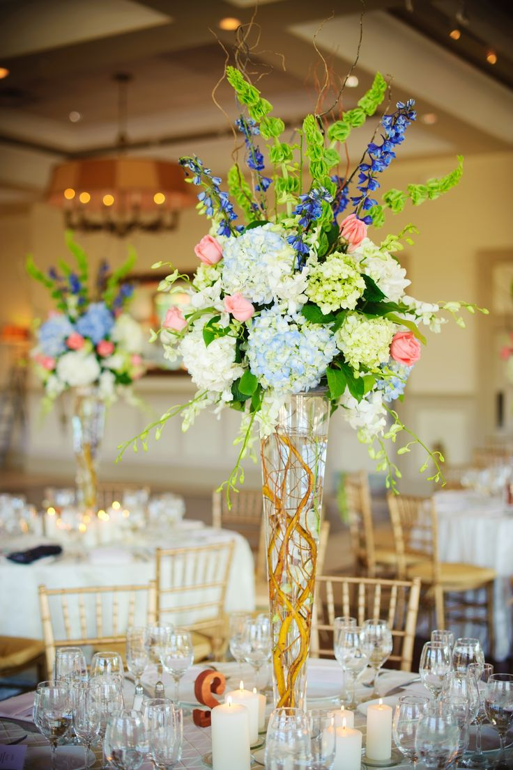 Superb Elegant Real Wedding With Simple DIY Details Spring Topiary Centerpiece.  Hydrangeas, Willow, Tall