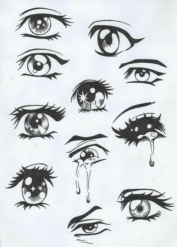 Анимешные глазки.Оказывается даже я рисовала их не по стандарту)