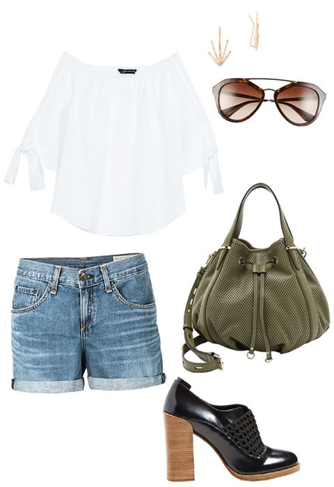 Zara blouse, Rag & Bone shorts, Prada sunglasses, Phyllis & Rosie jewelry, Rebecca Minkoff purse, 3.1 Phillip Lim booties